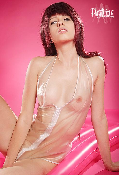 Alisha in a transparent pvc body